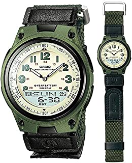 casio cloth band watch with data bank aw-80-3b