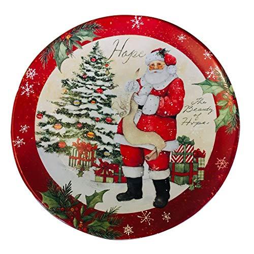 platos Redondo De Cerámica Papá Noel Redondo De 10 Pulgadas Ensalada De Frutas, Cerámica para Ramen Placa Calefactora De Microondas (Color : Red, Size : 10inches)