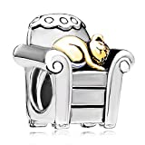 Pugster Cat In Chair Charm Bead Fit Charms Bracelets
