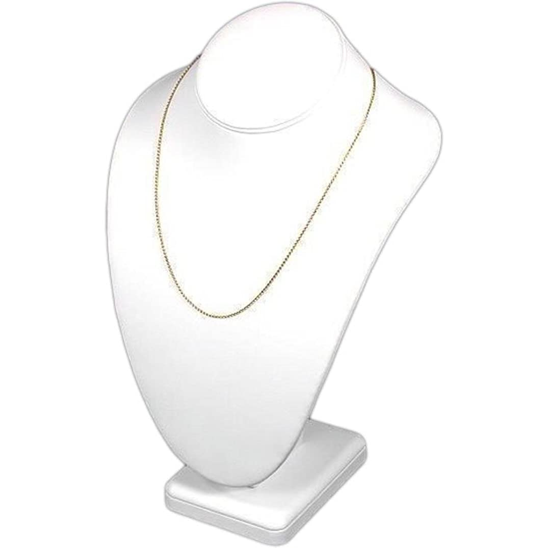 Beadaholique Necklace Bust, for Displaying Jewelry 7x11 Inches, 1 Piece, White Leatherette