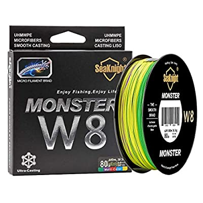 SeaKnight Monster W8 Braided Lines 8 Strands Weaves 500M/547Yards Super Smooth PE Braided Multifilament Fishing Lines for Sea Fishing 15-100LB by seaknight