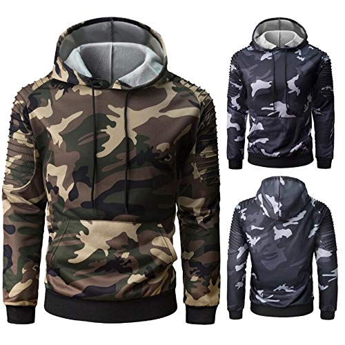 PRJN Men in Camouflage Hoodie Jacket Men's Casual Slim Pullover Sweater Pullover T-Shirt Mens Long Sleeve Pullover Spring Autumn Winter Lightweight Casual Slim Fit Classic Sweater Tops Hoody