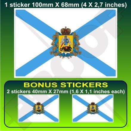 D'Arkhangelsk Oblast Drapeau, arkhangelskaya Fédération de Russie, Russe 10,2 cm Bumper Sticker en vinyle (100 mm), en x1 + 2 Bonus