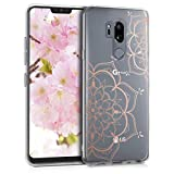 kwmobile LG G7 ThinQ/Fit/One Hülle - Handyhülle für LG G7 ThinQ/Fit/One - Handy Case in Blumen Zwillinge Design Rosegold Transparent