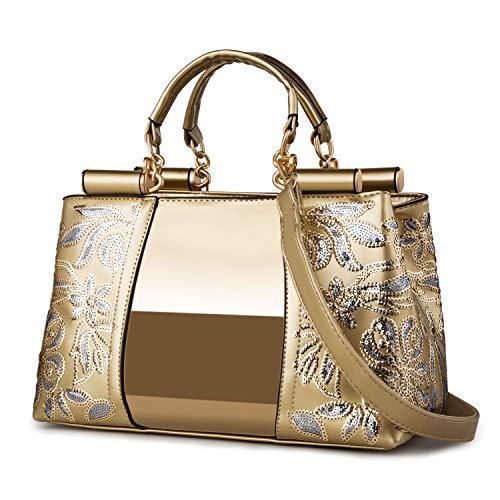Nevenka Women Patent Leather Fashion Handbags (Gold)