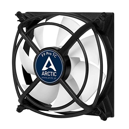 ARCTIC F9 Pro TC - Temperaturgesteuerter 92 mm Gehäuselüfter mit Vibrationsabsorption, Temperatursensor reguliert RPM, 500-2000 U/min. - Schwarz/weiß