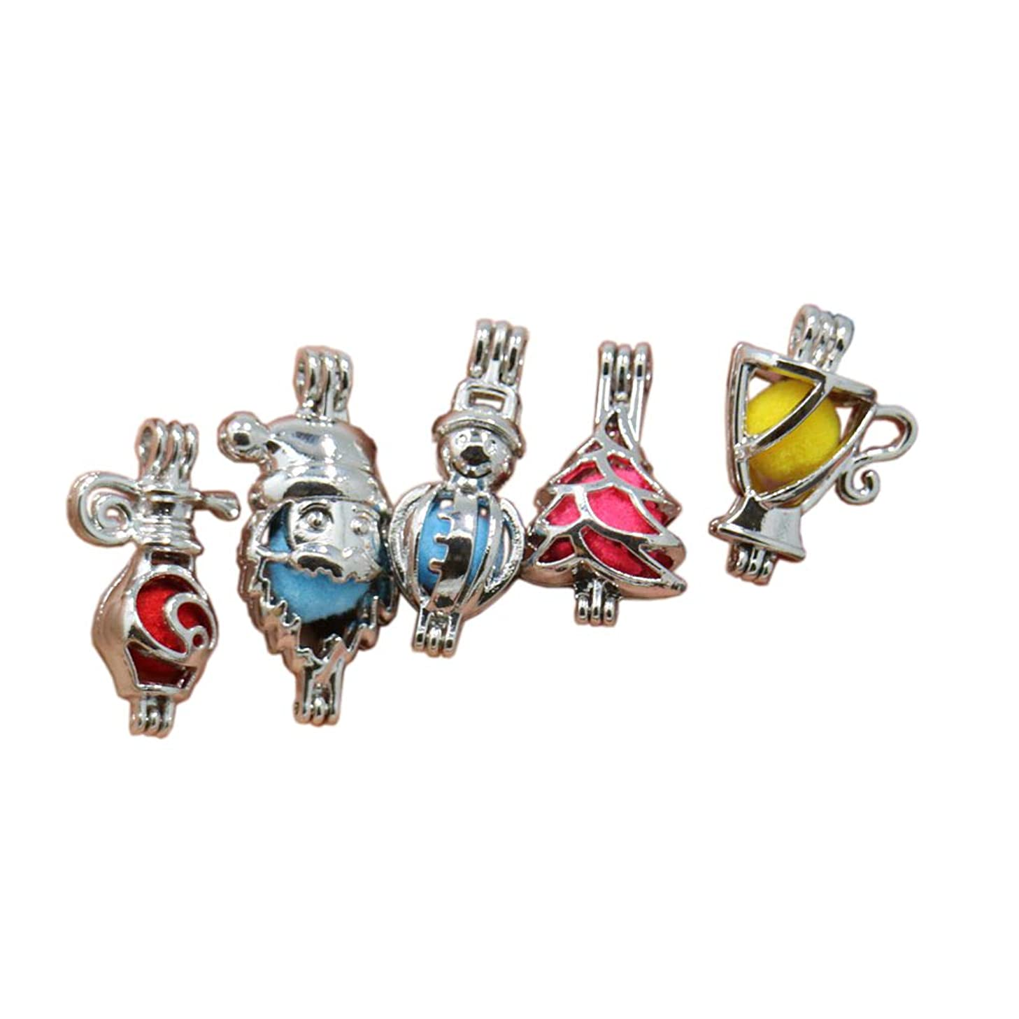 10pcs Mixed Style Stainless Steel Tones Christmas Style Alloy Bead Cage Pendant, Add Your Own Pearls, Stones, Rock to Cage Locket Pendant Charms,Christmas Charms