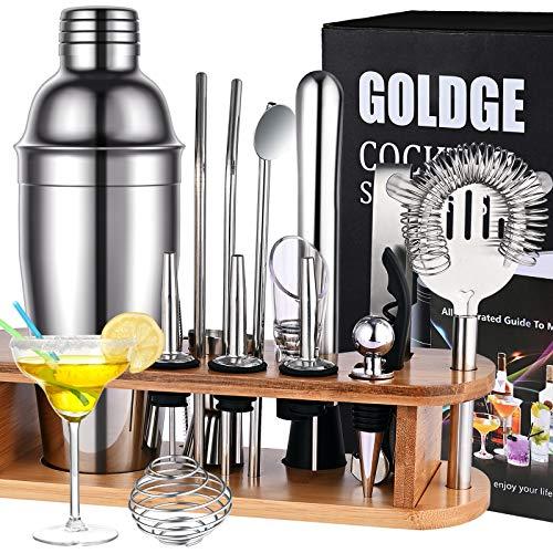 GOLDGE Cocktail Set Cocktail Shaker 18 Teiliges Cocktail Mixer Geschenk Set Bar Zubehör 750ML Cocktailshaker mit Holzständer
