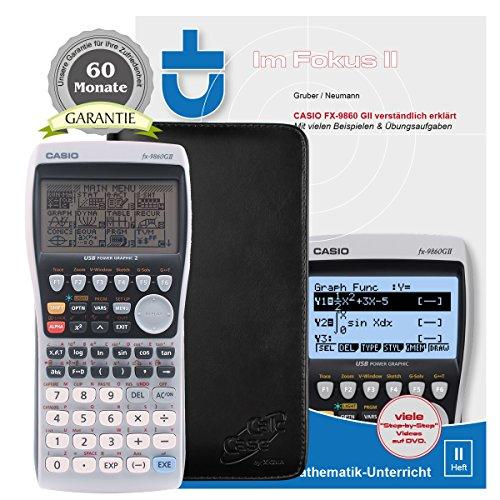Casio FX-9860 G II + CalcCase GTR Schutztasche + Buch: Im Fokus II: Casio FX-9860GII verständlich erklärt + Garantieverlängerung auf 60 Monate