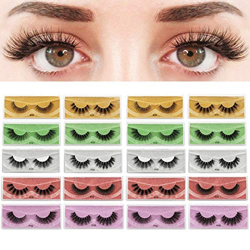 Heroicn Gefälschte Wimpern Fuax Nerz Magefy Natural 3D Long Wispy False Wimpern, 20 Paare 10 Styles Mixed Fluffy Lashes Pack mit 20 tragbaren Glitter-Boxen (Color : 20pair)