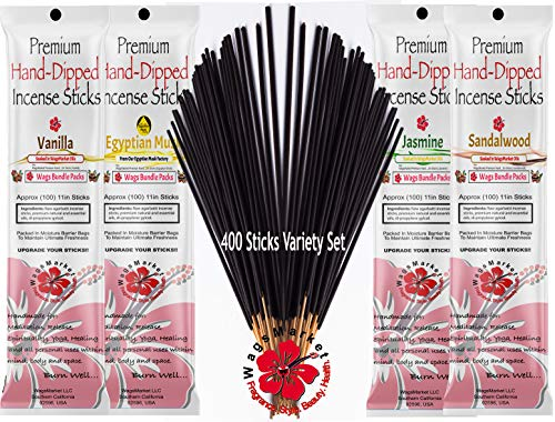 WagsMarket Premium Hand Dipped Incense Sticks, 400 Stick Variety Bundle Packs (Wags Favorite Scents)
