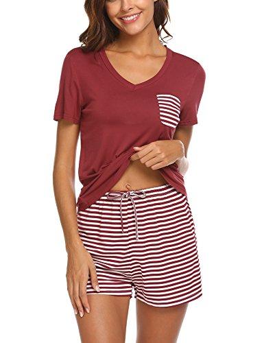 Unibelle Schlafanzug Damen Kurz Sommer Pyjama Shorty Nachtwäsche Hausanzug Kurzarm Rund Ausschnitt Sleepshirt Zweiteiliger Dunkelrot L