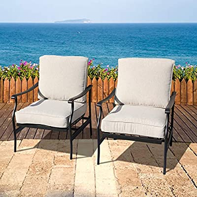 LOKATSE HOME Patio Bistro Dining Chairs Sets Outdoor Conversation Steel Iron Furniture with 5.1 Inch Thick Seat Cushions, Beige