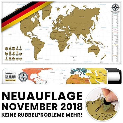 #benehacks -NEUAUFLAGE November 2018- Weltkarte zum Rubbeln in DEUTSCH - Rubbelweltkarte - Landkarte zum Freirubbeln (Farbe Gold/Weiß 84 x 44 cm, inkl. Geschenkverpackung)