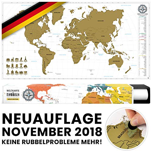 *#benehacks -NEUAUFLAGE November 2018- Weltkarte zum Rubbeln in DEUTSCH – Rubbelweltkarte – Landkarte zum Freirubbeln (Farbe Gold/Weiß 84 x 44 cm, inkl. Geschenkverpackung)*