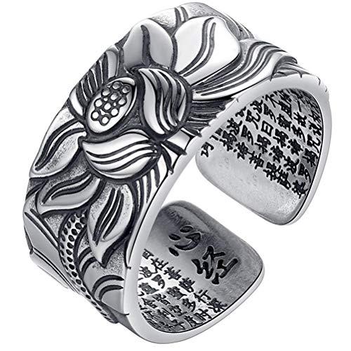 TiSkying Anello di loto retrò, Prajna Paramita Lotus Flower Open Ring Anello aperto regolabile per dito per uomo e donna Regalo gioielli retrò