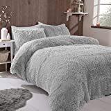 FAUX FUR SHAGGY Long Pile Face, Soft Touch Plush Fleece Reverse, Duvet Cover Set with Pillow Case Thermal Fluffy Winter Warm Cozy Cuddly Bedding Bed Set (Silver, Double)