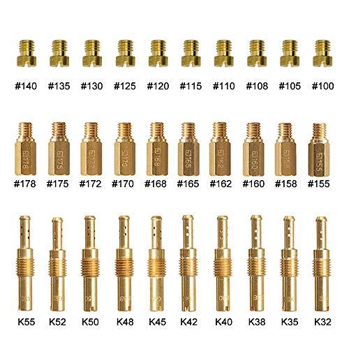 20 Pcs Carburetor Main Jets and 10 Pcs Slow Pilot Jets for Keihin OKO KOSO CVK PE PWK Carb, Brass Jet Kit