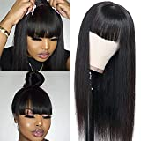 Silky Straight Human Hair Wigs with Bangs None Lace Front Wigs for Black Women 100% Unprocessed Brazilian Virgin Human Hair Wigs Machine Made Glueless Wigs (130% Density, Black, 16 inch)