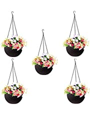 Go Hooked Plastic Hanging Pot, Dark Brown, Pot Diameter-7.1 Inch, Pot Height-4.8 Inch, Pot Thickness-3 mm, Chain Length-13 inch approx., 5 Pieces