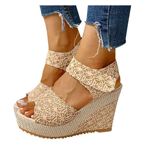KHIIen Sandals for Women Wedge  Espadrilles Peep Toe Platform Sandals Summer Ankle Strap Lace Bow High Heels Comfort Beach Roman Travel Shoes