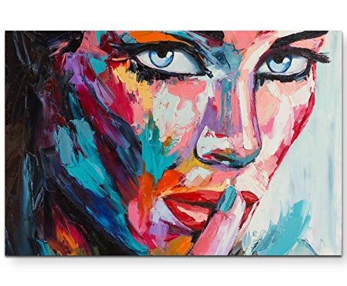 Paul Sinus Art Leinwandbilder | Bilder Leinwand 120x80cm abstraktes Portrait – Frau