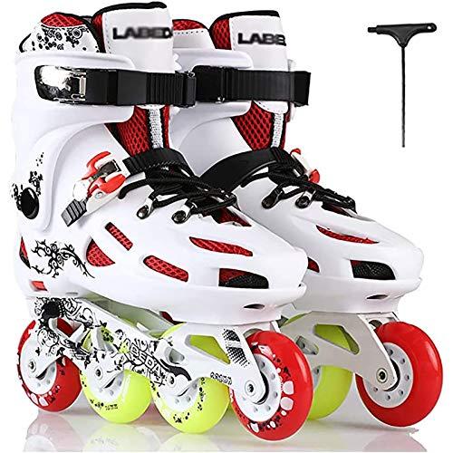 PLAYH Patines De Ruedas Patines Profesionales En Línea Zapatos Patines Ajustables para Niños Mujeres Hombres Deportes para Principiantes Al Aire Libre Recreación Fitness (Color : White, Size : 43)
