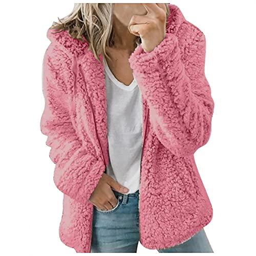 HHWY Teddy, giacca in pile da donna, tinta unita, con chiusura lampo, con cappuccio, giacca invernale da donna, corta, in pile, con tasche, Rosa acceso., L