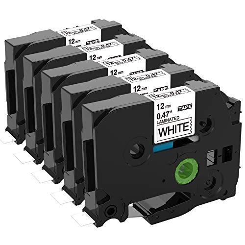 Unistar kompatibel Schriftband als Ersatz für Brother P-Touch TZe 12mm 0.47 White Tape TZe-231 schwarz auf weiß Laminiert Bänder für PTouch Beschriftungsgerät H105 1000 1005 1010 D400 D600, 5er-Pack