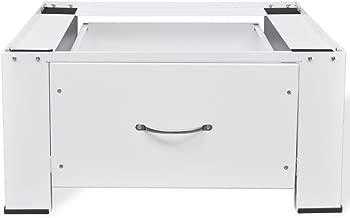 Festnight Washing Machine Pedestal with Storage Drawer Adjustable Height Dryer Mini Refrigerator Cabinet Stand for Utility Room Home Furniture 24.8