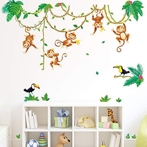 DECOWALL DWL-2013 Singes dans la jungle Autocollants Muraux Mural Stickers Chambre Enfants Bébé Garderie Salon