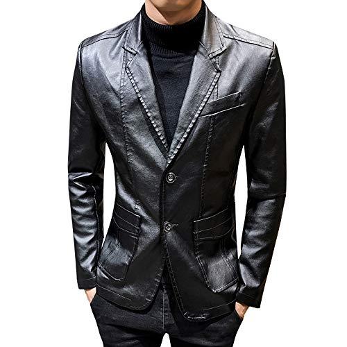 SBL Herren Ledermantel Anzug Herbst - Freizeitjacke Slim Revers Lederanzug - Lederjacke Herren Flut,schwarz,L