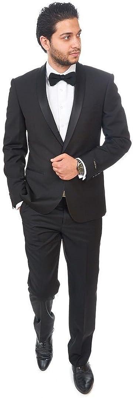 AZAR MAN ふるさと割 Slim Fit Men 期間限定お試し価格 Shawl Lapel Flat Black Button Tuxedo 1 Fro