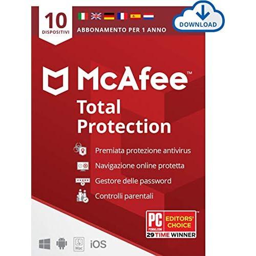 McAfee Total Protection 2021, 10 Dispositivi, 1 Anno, Software Antivirus, Sicurezza Internet, Mobile, Gestore Password, Controllo Genitori, Compatibile PC/Mac/Android/iOS, Edizione Europea