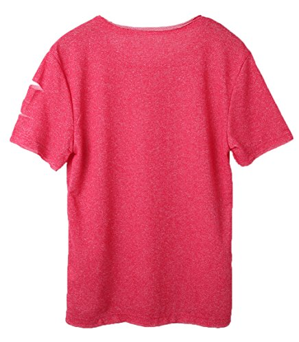 Men's Short Sleeve Crew Neck Slim Fit Fitness T-Shirt Tops with Ripped Holes (US-S, Rose Red)