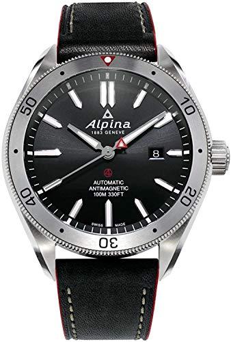 Alpina Herren Analog Automatic Uhr mit Leder Armband AL-525BS5AQ6