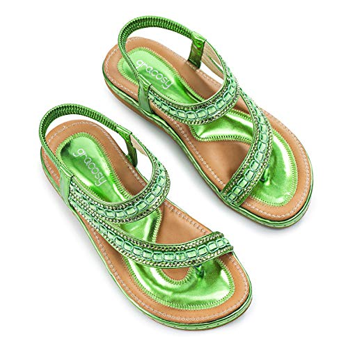 gracosy Sandalias Planas Verano Mujer Estilo Bohemia Zapatos para Mujer de Dedo Sandalias Talla Grande Cinta Elástica Casuales de Playa Chanclas Romanas de Mujer 2019 Rhinestone de Moda