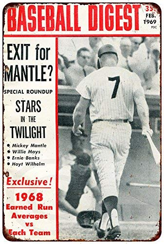Yilooom Custom Kraze Mickey Mantle Baseball Digest 1969 Vintage Retro Vintage Metal Signs Novelty Wall Plaque Wall Art Decor Accessories Gifts