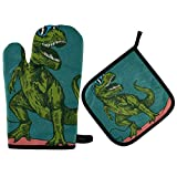 MUINDO Animal Dinosaur T-Rex Oven Mitts and Pot Holders Set Insulation 500F Heat Resistant Thick Gloves Flexible Owen Kitchen Cooking Baking BBQ Grilling Microwave Reusable