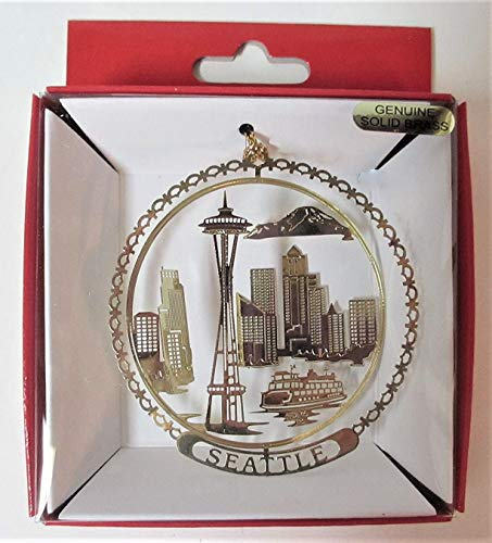 Nations Treasures Seattle Brass Christmas Ornament