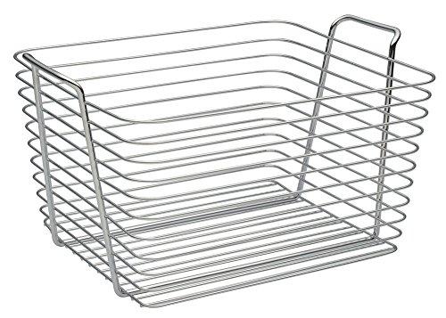 InterDesign Classico panier rangement, grand panier en métal avec poignées, corbeille rangement pour accessoires de salle de bains ou jouets, argenté