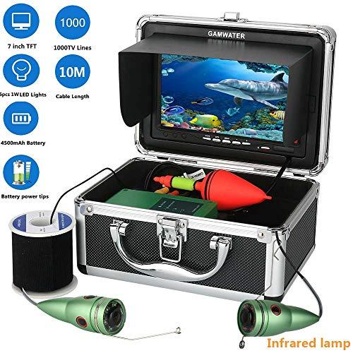 Fish finder 10M 1000tvl Unterwasser-Fishing-Videokamera Kit 6 PCS Infrarot-Lampenlicht mit 7 Inch Color Monitor Color CCD und HD 1000 TV-Linien Kamera