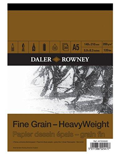 Bloc Encolado ideal para Dibujo DALER ROWNEY Fine Grain, de Formato 14,8 x 21 cm, con 30 Hojas de Papel de 200 g/m2 de Grano Fino