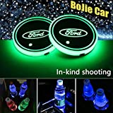 2pcs LED Car Logo Cup Holder Lights for Ford, 7 Colors Changing USB Charging Mat Luminescent Cup Pad, LED Interior Atmosphere Lamp Decoration Light. (Ford)