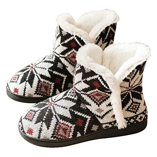 AONEGOLD Zapatillas de Casa para Mujer Bota Cálida Invierno Forro de Felpa Pantuflas Cómodo Antideslizante Botines De Punto para Interiores(Negro Rojo,Tamaño 37-38)