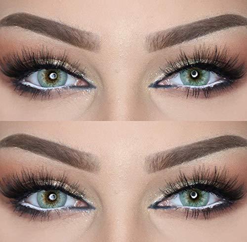 Farbige Kontaktlinsen DUBAI NIGHTS die schönsten Farblinsen für orientalische, braune Augen ohne Stärke (Husky Grau Grün)