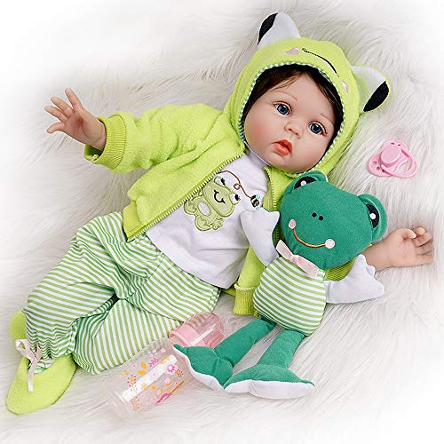 Seedollia Realistic Baby Dolls 22 Inches Reborn Boys Real Life Baby Dolls Silicone Weighted Baby Dolls with Bear Plush & Frog Plush 2 Outfits 14-Pieces Gift Box Set