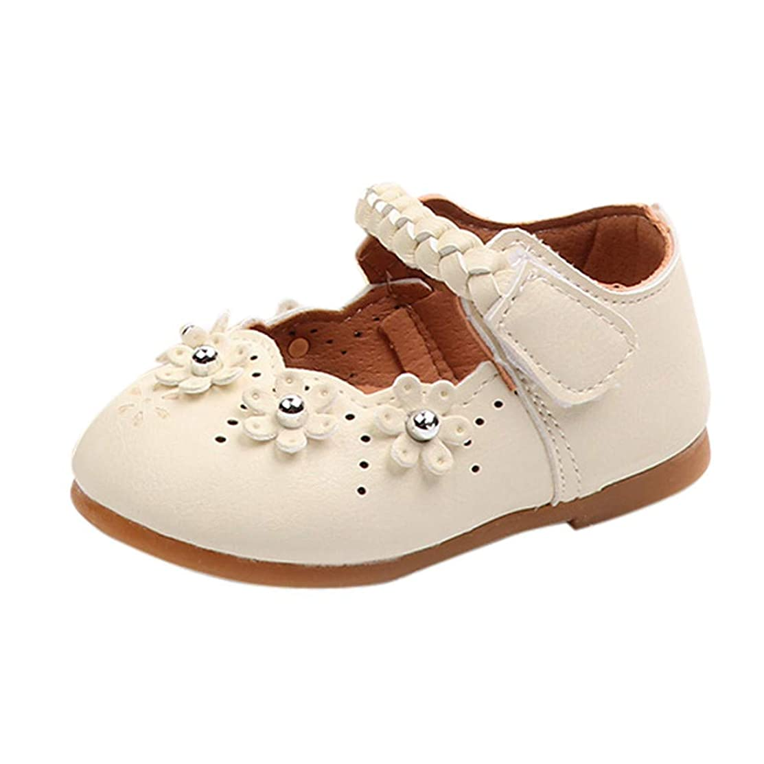 Infant Baby Toddler Girls Princess Shoes for 0-4 Years Old,Cute Kids Flower Leather Soft Sole Flat Casual Shoes