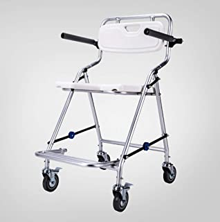 XXHDEE Bathroom Folding Bath Shower Chair with Wheel Armrests and Backrest Aluminum Non-Slip Shower Chair Elderly Bathing Wheelchair Pregnant Woman Safety Shower Seat Bath Stool
