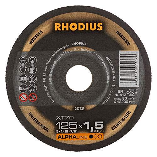 RHODIUS extra dünne INOX Trennscheiben Metall XT70 DOSE Made in Germany Ø 125 x 1,5 mm für Winkelschleifer Metalltrennscheibe 10 Stück